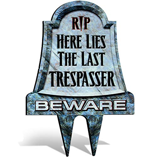 No Trespassing Metal Tombstone Lawn Sign for Yard | Scary and or Funny with Easy Bult in Ground Stake Insalltion | Headstone - Graveyard -
