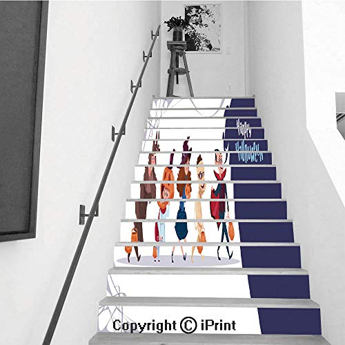 Self-Adhesive Stair Riser Decal - Stair Stickers Decals Wallpaper for Walls Kitchen Bathroom Stair Decals Home Decorations,13 PCS,Cute Kids Wear Monsters Costume Happy Halloween Banner Party Celebra