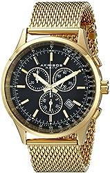 Akribos XXIV Men's AK625YGB  Round Black Dial Chronograph Quartz Stainless Steel Bracelet Watch