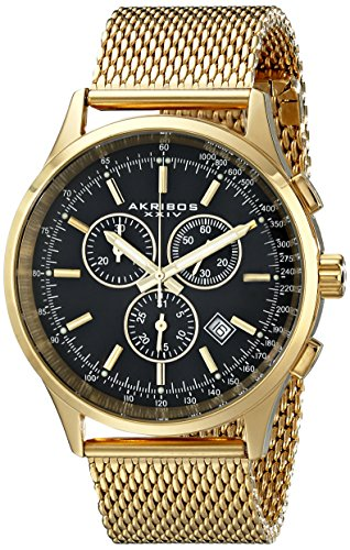Akribos XXIV Men's AK625YGB  Round Black Dial Chronograph Quartz Stainless Steel Bracelet Watch