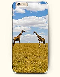 iPhone 6 Plus Case 5.5 Inches Two Giraffes Watching Each Other - Hard Back Plastic Case OOFIT Authentic
