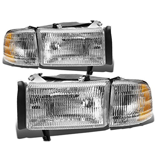 DNA motoring HL-OEM-DR94-4P, OEM style Headlight Assembly (Driver and Passenger (Dodge Van Headlight Assembly)