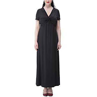 11bf98ef02a Image Unavailable. Image not available for. Color  LUCYYA Women s Plus Size  Short Sleeve V-Neck Bodycon Long Swing Dress ...
