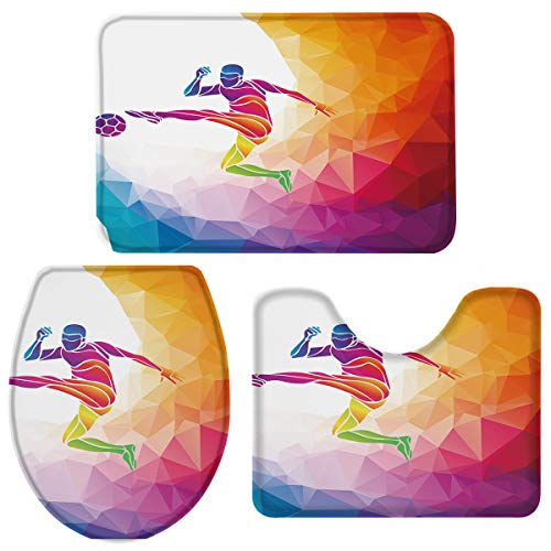 T&H Home Bath Rug Sets 3 Piece for Bathroom - Rainbow Colored Theme with a Football Player Sports Man Jumps Print Ultra Soft Non Slip and Absorbent Shower Mat, U-Shaped Contour Mat & Toilet Lid Cover ()