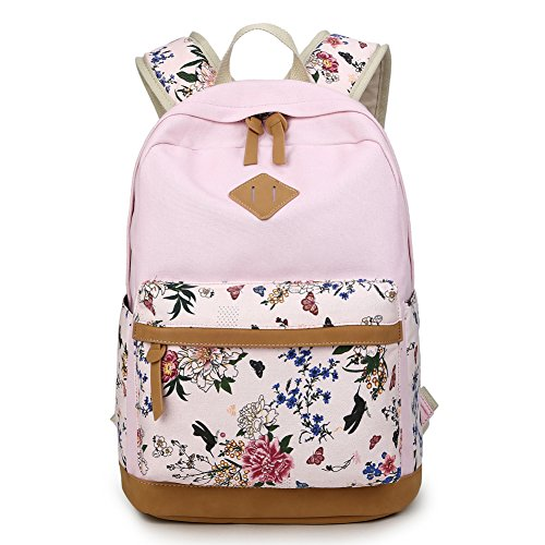 Print Canvas Laptop Computer (Artone Women's Canvas Floral Print Backpack with Laptop Compartment Pink)