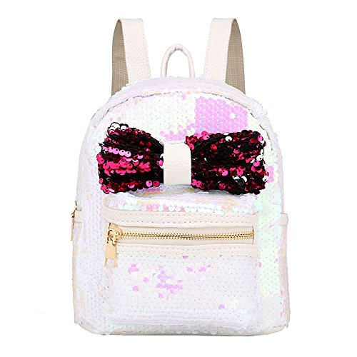 WugeshangmaoBags for Women Backpack Deals,Women's Shoulder Bag,Teen Girls' Fashion Sequins Bow Tie School Bag Backpack White