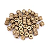 Insert Embedded Nuts, 50pcs M3 Brass Cylinder Knurled Round Molded-in Insert Embedded Nuts(1#)