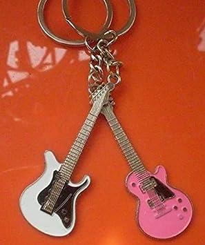 [Amateras serie amor] super lindo guitarra Stratocaster rosa blanca par llavero dos conjuntos Llavero