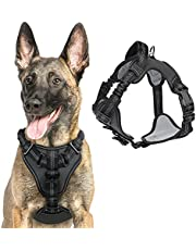 rabbitgoo Dog Harness, No Pull Dog Walking Harness with Shock-Absorbing Bungee Straps & 2 Leash Clips, Adjustable Padded Dog Vest Harness Reflective Chest Harness with Handle for Large Dogs, Black