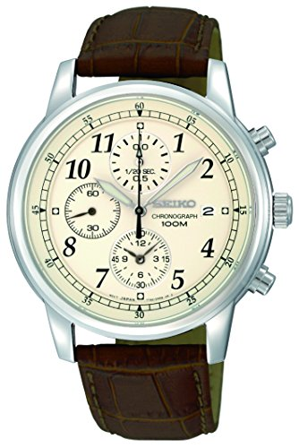 Seiko Men's SNDC31 Classic Stainless Steel Chronograph Watch with Brown Leather (Mens Chronograph Brown Leather)