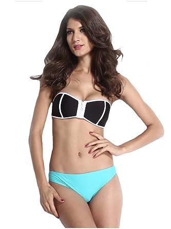 Women Sexy Zip Boob Tube Top Push Up Bra Triangle Bikini Set ...