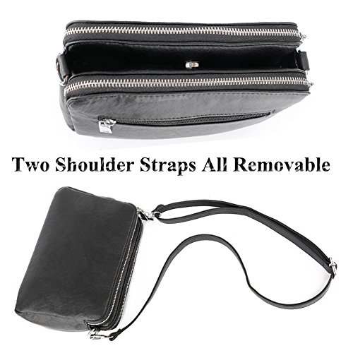 Bag Bag Double Satchel Compartment Bag Messenger Handbag Silver Crossbody Purse Shoulder Mynos Women Leather And wUOFq5x1