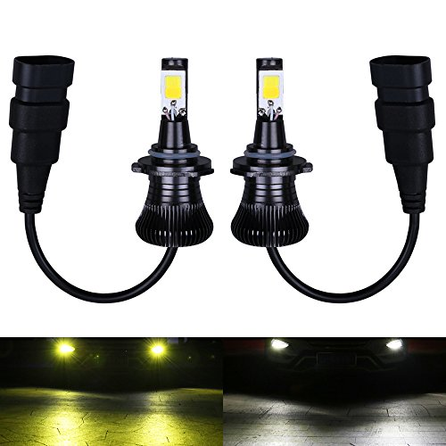 9006 9005 HB4 HB3 Fog LED Light Bulbs Amber Yellow 3000K White 6000K Dual Color for Trucks Cars Lamps DRL Daytime Lights Kit Replacement Bulb 12V 30W 2800LM Super Bright COB Chips 1 Year Warranty【17