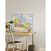 RoomMates RMK2620SLM Canada Map Peel and Stick Dry Erase Giant Wall Decals