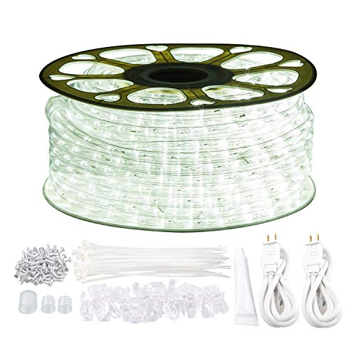 GuoTonG 131.2ft Plugin Rope Lights, 1440 Daylight White LEDs, 110V, 2 Wire, Waterproof, Connectable, Power Socket Connector Fuse Holder, Indoor/Outdoor Use, Ideal for Backyards, Decorative Lighting ()