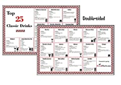 Laminated Bar Cocktail Recipe Mixed Drink Chart - Top 25 Classic Drinks Edition Ever wonder how to make those Classic Drinks? What ingredients you need? Glass Types? Drink Charts provides you with the knowledge to make those classic drinks pe...