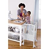 Guidecraft Kids Contemporary Kitchen Helper - Gray Adjustable Height Nursery Wooden Footstool For Toddlers