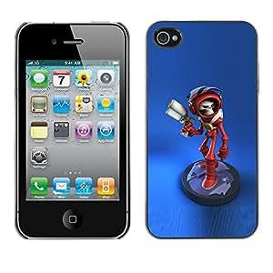 Caucho caso de Shell duro de la cubierta de accesorios de protección BY RAYDREAMMM - Apple iPhone 4 / 4S - Laser Gun Game Character