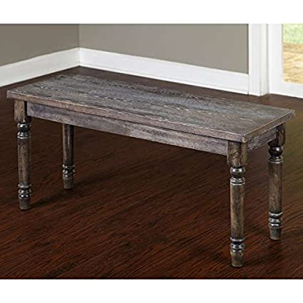 Exceptional Solid Rustic Burntwood Bench Backless Chair Back Height In Weathered Grey  Finish   2745233. Assembly