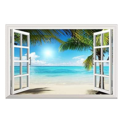 Astonishing Craft, That's 100% USA Made, White Sand Beach with Palm Tree Open Window Wall Mural