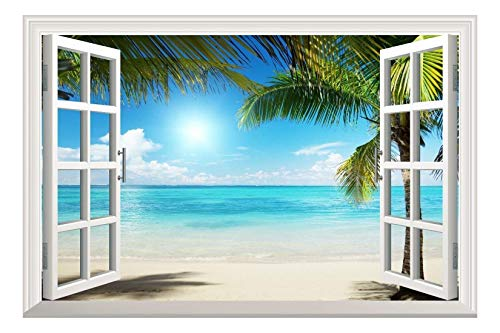(wall26 White Sand Beach with Palm Tree Open Window Wall Mural, Removable Sticker, Home Decor - 24x32 inches)