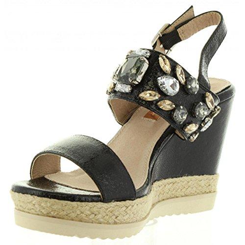 Xti Sandales pour Femme 30612 Metalizado Negro EJgcGHxIc