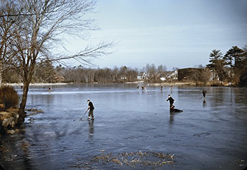 Ice Skating C1940Npeople Ice Skating With One Person Who Has Fallen On A Lake In The Vicinity Of Brockton Massachusetts Photographed By Jack Delano C1940 Poster Print by (18 x 24)