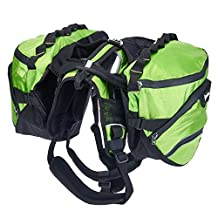"Pettom Dog Saddle Backpack 2 in 1 Saddblebag&Vest Harness with Waterproof for Backpacking, Hiking, Travel, suit for Small, Medium & Large Dogs (S(Chest 22""-27""), Green)"