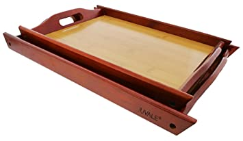 Wood Serving Tray   Large Medium Stackable Carrying Tray With Handles    Brown   2 Piece Great Pictures