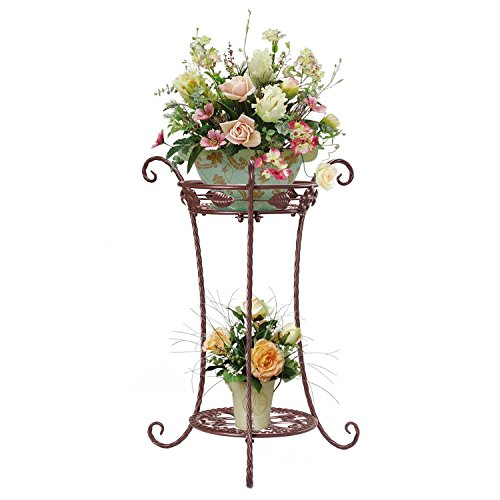aAnjoy 2 Tiers Potted Plant Stand Metal Flower Pot Shelf (BRONZE)