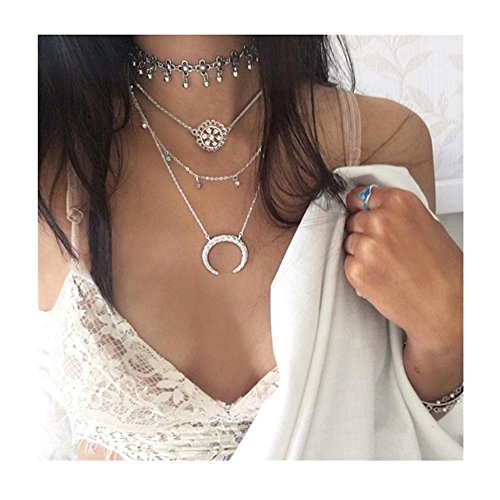 Boho Charm Choker Sunflower Moon Crystal Design Multilayer Fringed Clavicle Necklace Antique Silver Beach Vacation Vintage Tassel Beads Pendant Necklace for Teens Girls Women (Choker Necklace Set) by OUXUN