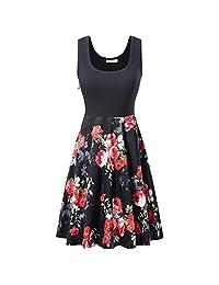 Misciu Women's Scoop Neck Floral Printed Dress Sleeveless Vintage Party Tank Dress Black Bottom Safflower S