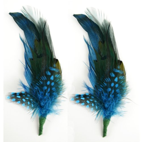 Touch of Nature 2-Piece Feather Pick with Nylon Loop for Arts and Crafts, 6 to 7-Inch, Teal/Turquoise -