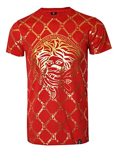 SCREENSHOTBRAND-S11821 Mens Hipster Hip-Hop Premium Tees - Stylish Longline Fashion Luxury T-Shirt Medusa Gold Print - Red - Small