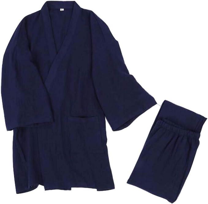 Ropa de hogar de Estilo japonés Algodón Hombres Pijamas Kimonos, Tops + Pantalones, C01: Amazon.es: Ropa y accesorios