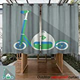 RenteriaDecor Outdoor Balcony Privacy Curtain Vector Push Scooter and a Backpack with a Long Shadow W55 x L72
