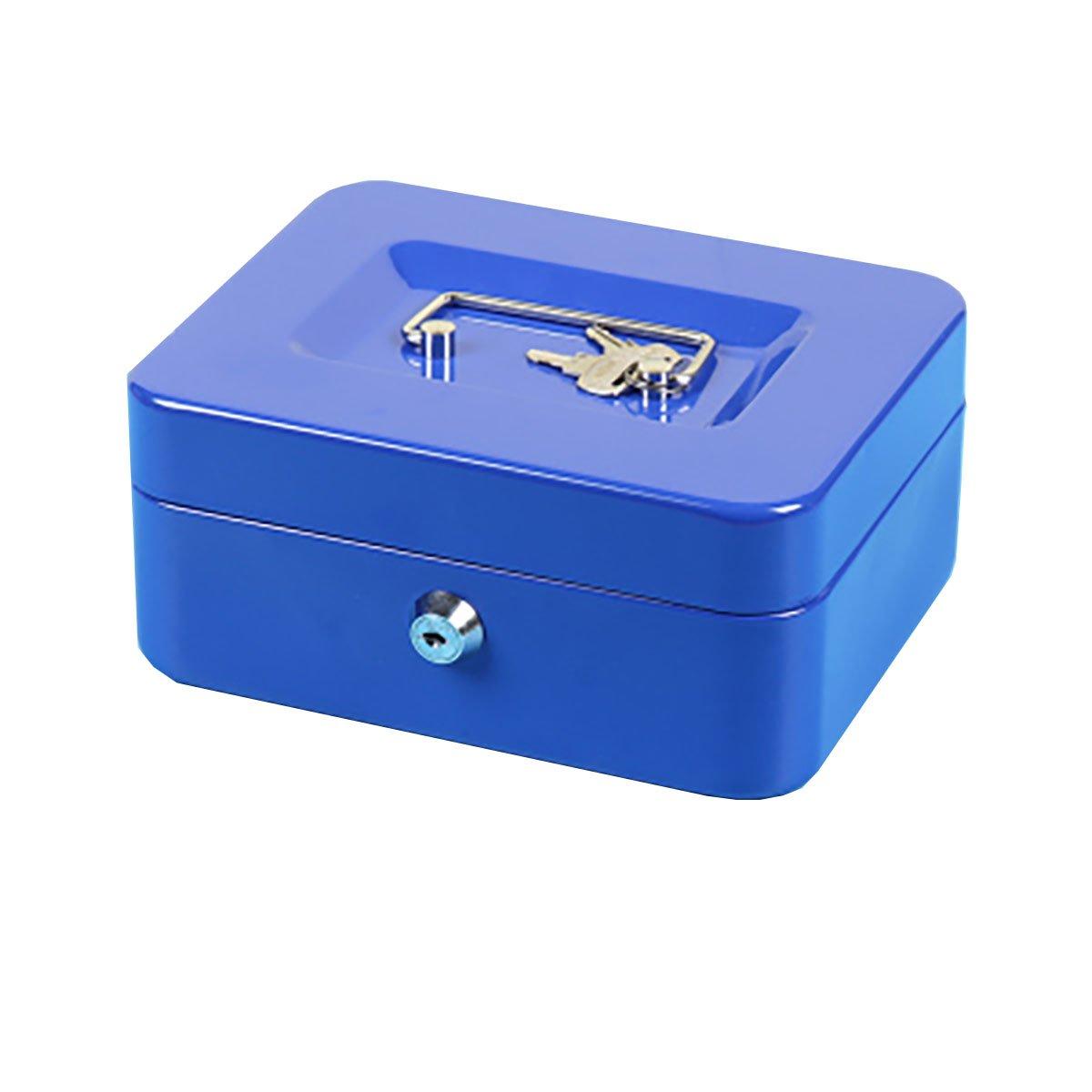 KCB-603 Geldkiste Geldkassette abschliessbar 150 * 120 * 75mm Geldkassette Metall Transportkassette Kasse Tresor Geldkasse abschließ bar Blau LinQ®