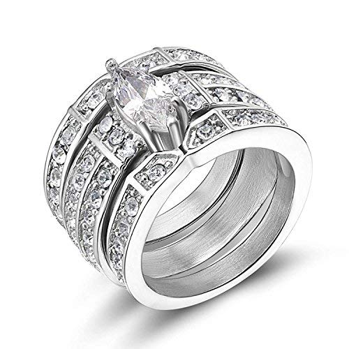 (TIGRADE Stainless Steel Cubic Zirconia Wedding Ring Set Marquise Style for Womens (Marquise Style Silver, 9))