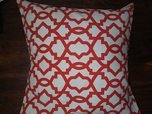 European Trellis - Euro pillow Red and white trellis Pillow Cover. large bed Throw Pillows, Moroccan pattern Toss Pillows. square Cushion. Bed dorm. Pillow Cover. Pillow Sham 26