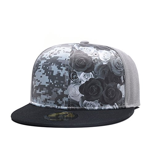 Four Seasons Hat (Quanhaigou Floral Snapback Hip-Hop Grey Hat Flat Peaked Adjustable Baseball Cap For Four Seasons)
