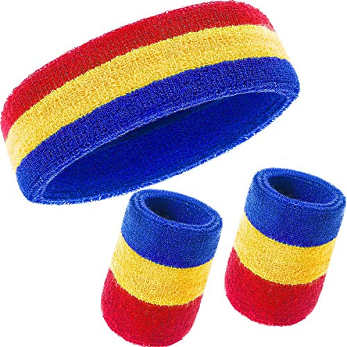 (E-lishine Striped Sweatbands Set - (1 Headband and 2 Wristbands) Cotton Sweat Band for Athletic Men and Women (Blue, Yellow and Red))