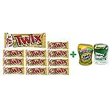 Twix Cookie Bars Caramel Milk Chocolate - 1.79Oz (11 PACK)+ Fruity Chews Gum Watermelon 1/60 Count + Trident Go Cup Spearmint 1/60 Count (BUNDLE)