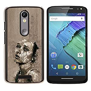 GIFT CHOICE / Teléfono Estuche protector Duro Cáscara Funda Cubierta Caso / Hard Case for Motorola Moto X3 3rd Generation // Sad Grey Cry Heartbreak Art Sketch //