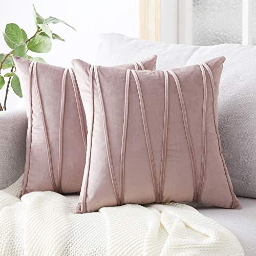 Top Finel Juegos 2 Hogar Cojín Terciopelo Suave Decorativa Almohadas Fundas de Color Sólido para Sala de Estar sofás 50x50cm Violeta