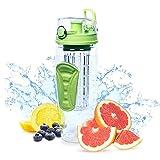 Fruit Infuser Water Bottle Large 32oz - Best BPA-Free Sports Bottle - Flip Top Lid W Drinking Spout, Leak Proof, Made of Durable Tritan.