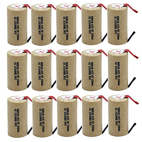 - BAOBIAN SubC Sub C 2200mAh 1.2V Ni-CD 10C Discharge Rate Rechargeable Battery Cell with Tabs for Power Tools (15Pcs)