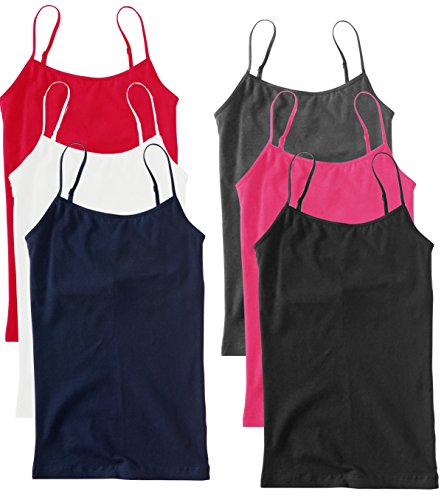 6 Pack Unique Styles Women's Cotton Plus Size Spaghetti Strap Camisole Tank Tops with Adjustable Straps - Assorted Colors