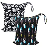 ALVABABY 2pcs Cloth Diaper Wet/Dry Bags|Waterproof Reusable with Two Zippered Pockets|Travel, Beach, Pool, Daycare, Soiled Baby Items,Yoga,Gym Bag for Swimsuits or Wet Clothes L35132