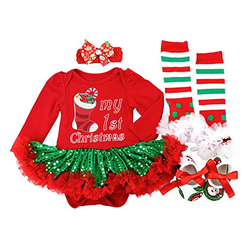 BabyPreg Baby Girls My First Christmas Santa Costume Party Dress 4PCS (Socks Green, L for 9-12 Months)
