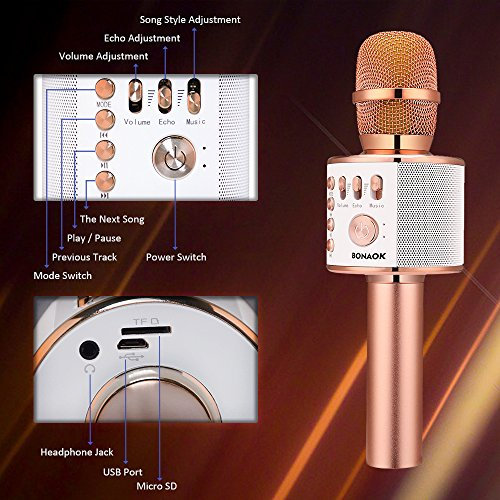 Large Product Image of BONAOK Wireless Bluetooth Karaoke Microphone,3-in-1 Portable Handheld karaoke Mic Christmas Gift Home Party Birthday Speaker Machine for iPhone/Android/iPad/Sony, PC and All Smartphone(Rose Gold)